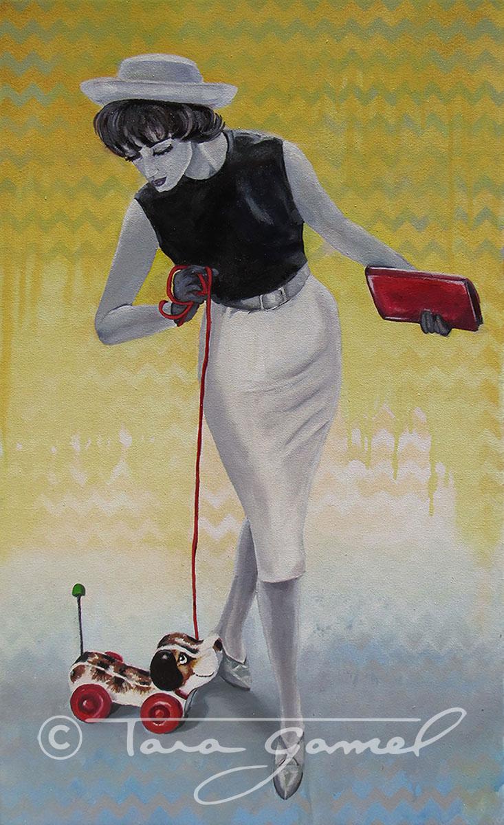 Classy vintage women. Vintage women's fashion. Vintage toys, wooden dog on wheels. Vintage clutch purse.
