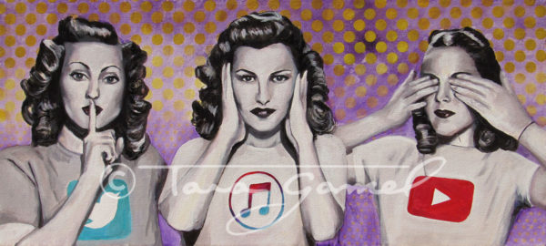Original art with Twitter, iTunes and YouTube. Vintage women. Monkey see Monkey do. Commentary on modern culture.