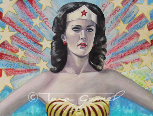"This art contains positive words, positive message, Linda Carter, Wonder Woman, stars, red white & blue, vintage style, red lipstick, paint drips, stencils, spray paint. Original oil on canvas. This piece is 48"" wide by 36"" tall. Perfect as a statement piece in your home or office."