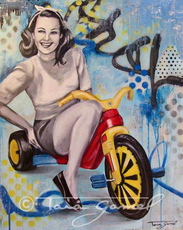 "Boo-Boo Bike | 24""x30"" | Oil on Canvas | Big Wheel"