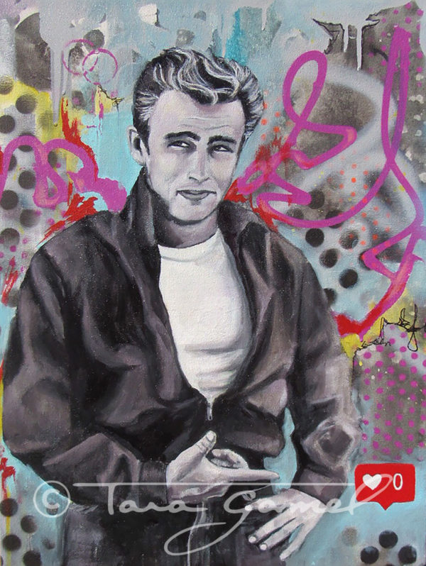Instagram likes and followers. James Dean. Graffiti art, spray paint, stencil dots, paint runs, pink, red, black. Black and white vintage actors. This is an artists commentary on our modern culture and the obsession of our culture with the approval of our peers and the world.