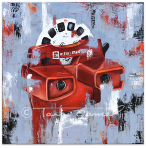 A Different View 20x20 original oil on canvas. Classic View Master toy recreated in an original pop art style.